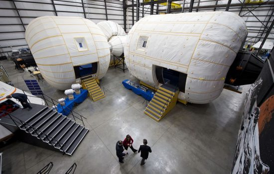 A ground based mock up of Bigelow Aerospace's inflatable habitats. Image courtesy of Bigelow Aerospace