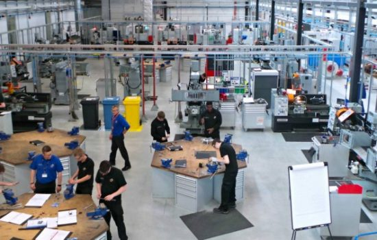 The workshop floor of the AMRC Training Centre, in Catcliffe, Rotherham – image courtesy of the AMRC Training Centre - apprentices.