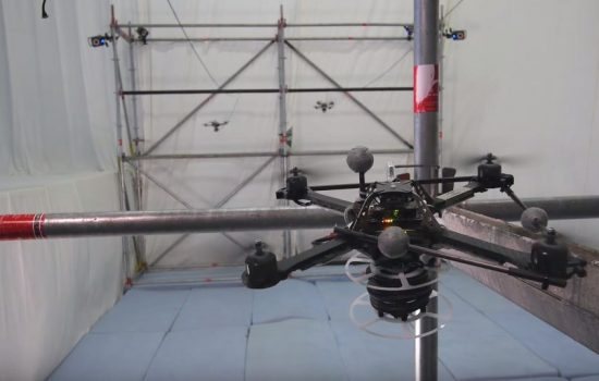 A quadcopter drone begins work on a rope bridge. Image courtesy of ETH Zurich
