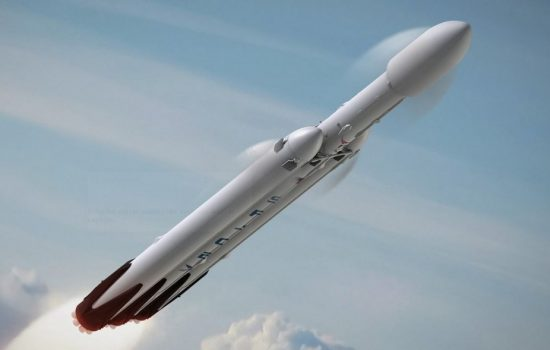 An artist's impression of the Falcon Heavy mid-flight. Image courtesy of SpaceX.