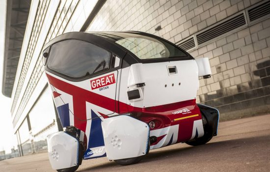 The first of three self driving pods to be tested on the streets on Milton Keynes.
