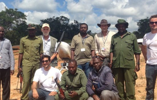 The successful UAV anti poaching trial team in Tanzania with the Super Bat UAV - image courtesy of Bathawk Recon.