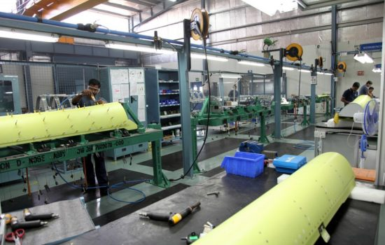 An Aequs aerostructures assembly line in India. Image courtesy of Aequs.
