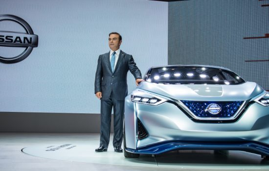 Nissan president and CEO Carlos Ghosn presenting the Nissan IDS concept self driving vehicle at the 44th Tokyo Motor Show on 27 October, 2015