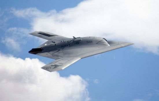 The new LRS-B aircraft will likely be a similar design to the X-47B drone. Image courtesy of Northrop Grumman.