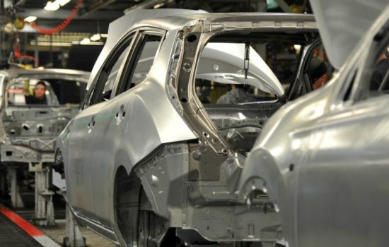 Nissan-body-in-white-on-the-production-line-in-Sunderland UK manufacturing