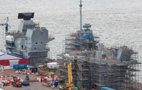 Installation of Artisan Radar on the HMS Queen Elizabeth, first of the QE Class Aircraft Carrier to be assembled in Rosyth.