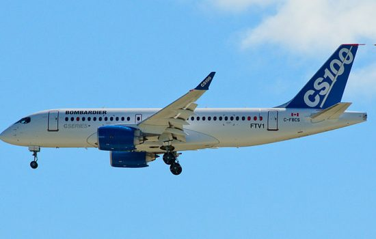 Bombardier C Series CS100 FTV-1 Fly-By the 06 runway at Mirabel, before landing - image courtesy of Alexandre Gouger