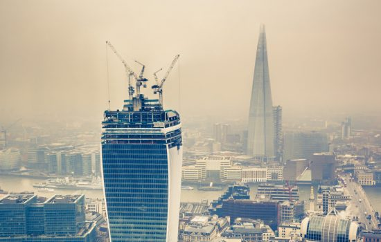 The London skyline shrowded in cloud and a thick brown smog - image courtesy of DFC.