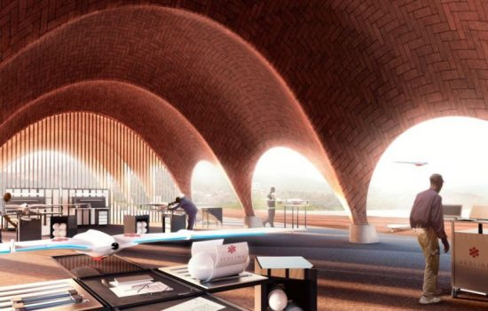 An artist's impression of the Droneport planned to be built in Rwanda. Image courtesy of Foster + Partners.