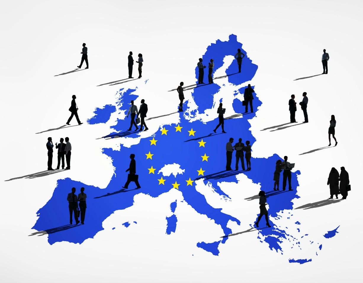 post workers in the EU - Blue Cartography Of European Union with Business Silhouettes