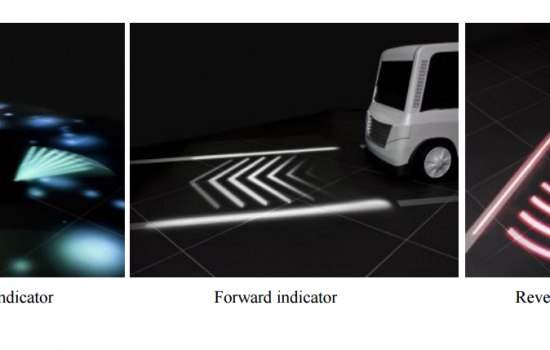 The Mitsubishi Electric system projects large, easy-to-understand animated illuminations onto road surfaces to help pedestrians understand a driver's intentions - image courtesy of Mitsubishi Electric.