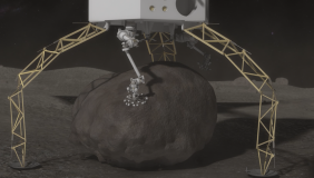 The Nasa Asteroid Redirect Robotic Mission (ARRM) intends to collect an asteroid boulder and put it into orbit around the moon - image courtesy of Nasa.