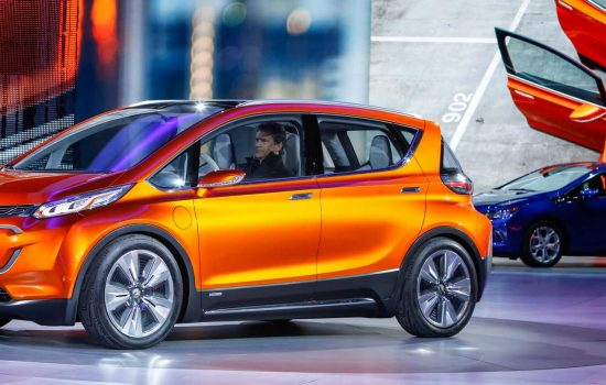 The Chevrolet Bolt EV concept vehicle (left) makes its global debut with the new Chevrolet Volt (right) on Monday, January 12, 2015 at the North American International Auto Show in Detroit, Michigan - image courtesy of Chevrolet.