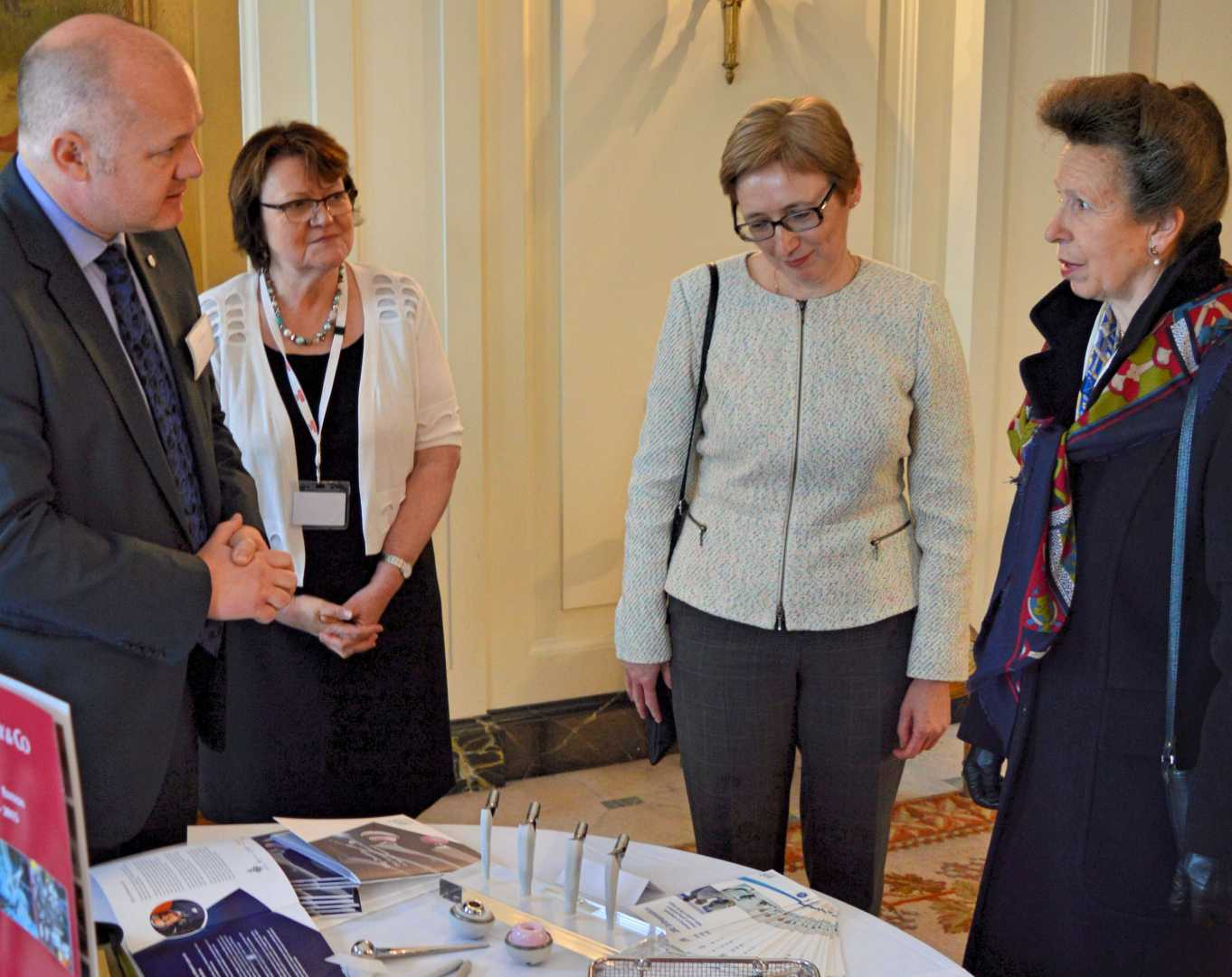 Keith Jackson (JRI Orthopaedics) meets HRH The Princess Royal at the British Residence in Brussels as part of celebrations marking the 100th anniversary of the death of British nurse Edith Cavell.