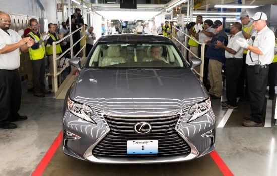 Toyota workers cheer first US-built Lexus as it rolls down the line in Kentucky - image courtesy of Lexus.