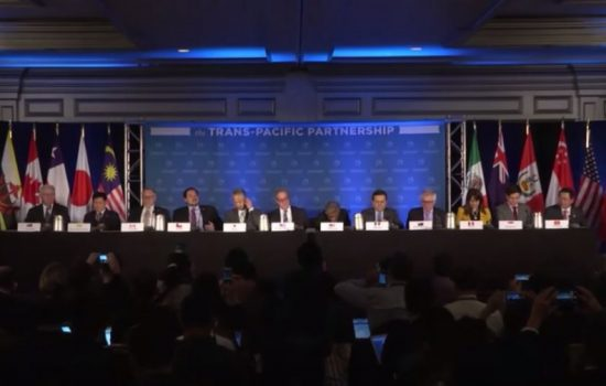 The signing of the TPP deal was announced at a press conference in Atlanta yesterday. Image courtesy of USTR.