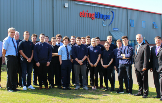 Middlesbrough College STEM team and apprentices on-site at ElringKlinger (GB) with MD Ian Malcolm