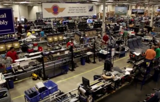 The assembly line at aircraft interior manufacturer BE Aerospace