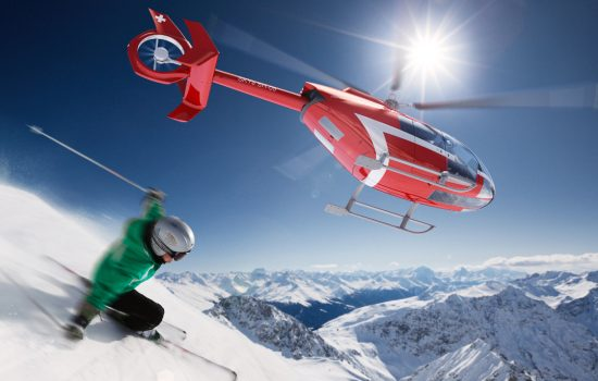 The Marenco Swisshelicopter SKYe SH-09 being used for heliskiing - image courtesy of Marenco Swisshelicopter