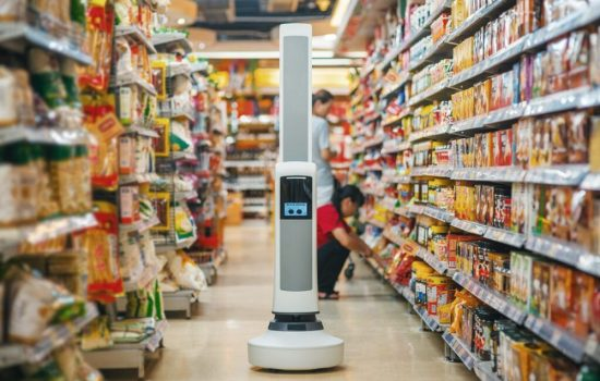 The Tally robot is able to monitor supermarket shelves. Image courtesy of Simbe Robotics.