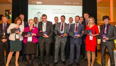 Exemplars from The Manufacturer Top 100 report 2015 on stage at last year's launch event - image courtesy of The Manufacturer.
