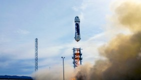The 'New Shepard' rocket launches from its West Texas launch site as it began its historic test - image courtesy of Blue Origin.