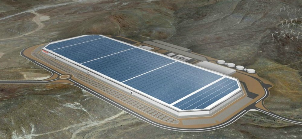 A rendering of the first complete Gigafactory in Nevada (image courtesy of Tesla).A rendering of the first complete Gigafactory in Nevada (image courtesy of Tesla).