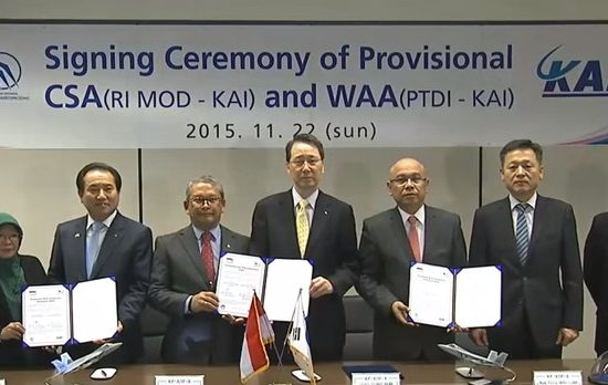 The signing ceremony between Korea Aerospace Industries and the Indonesian government for the KFX experimental fighter project - image courtesy of ARIRANG News.