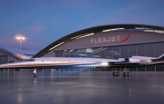 An artist deipiction of the Aerion AS2 supersonic jet in front of a Flexjet Hangar - image courtesy of Flexjet.