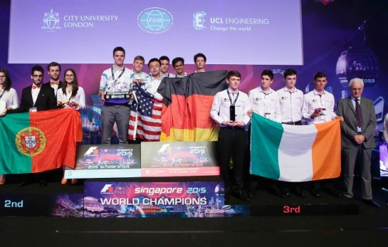 The F1 in Schools World Finals 2015 podium L-R: 2nd place - Mustangs (Portugal), World Champions - Union Racing International (Germanyy, and 3rd place - AIB-R (USA).