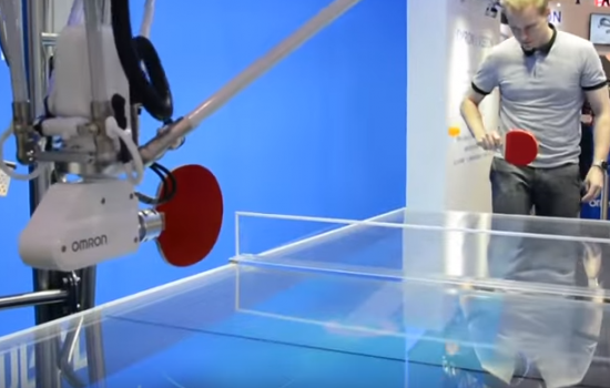 The Omron Ping Pong Robot - image taken from Engadget Video