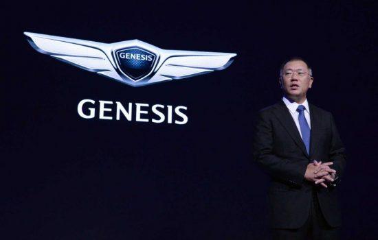 Euisun Chung launches the Genesis brand. Image courtesy of Hyundai.