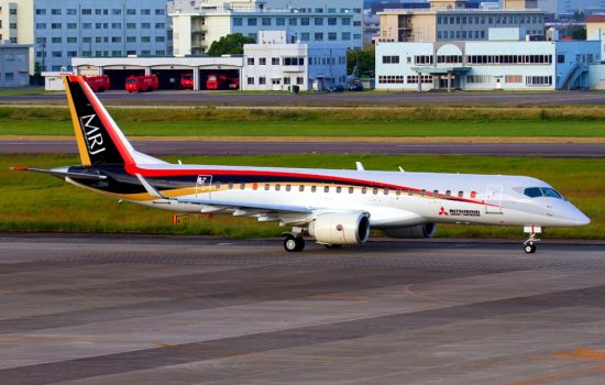The MRJ aircraft at Nagoya Airfield. Image courtesy of Wikipedia Commons