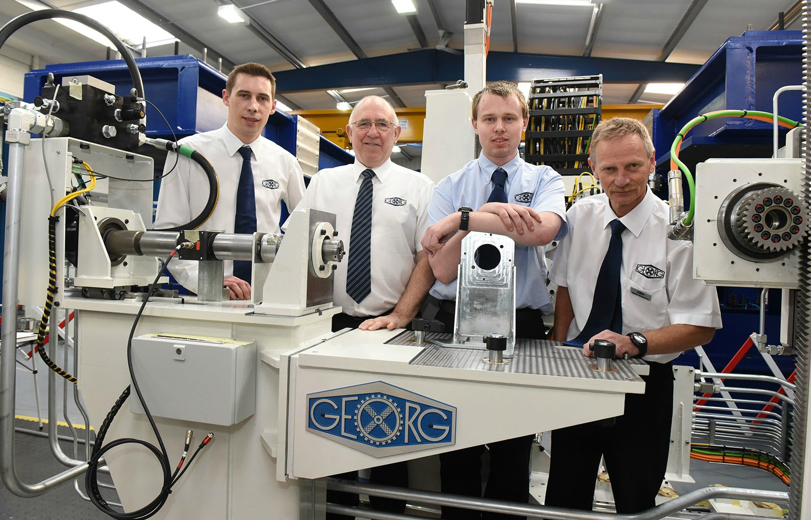 L to R: Chris Sharman; Mike Mason; Dan Boggild, and Martin Summers (all engineers at Georg UK).