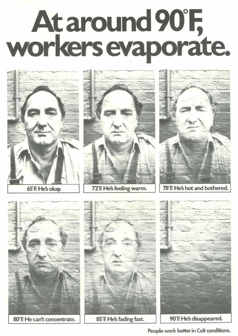 Colt International Advert - Feb 77 - Evaporating worker CROPPED