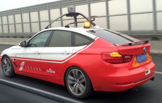 The Baidu autonomous car (modified BMW 3 series) undertaking a test run on Beijing public roads in early December 2015 - image courtesy of Baidu.