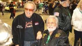 George Barris (left) with Mike Gejeian at the 64th Grand National Roadster Show in Los Angeles, Jan 25, 2013 - image by By Scalhotrod creativecommons.orglicensesby-sa3.0 via Wikimedia Commons