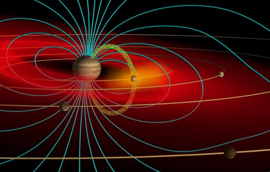 Schematic of the Jovian magnetosphere with Jupiter at its centre and its moons orbiting - image courtesy of Wikicommons and Volcanopele
