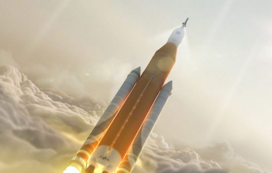 The SLS rocket is one of the major projects funded in the new Nasa budget. Image courtesy of Nasa.