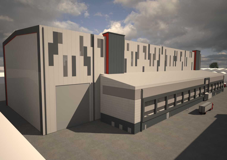 Rear View CGI image of Barrow Central Yard Complex.