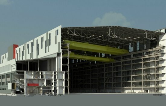 When complete, the Central Yard Complex will offer office space, an employee canteen and fabrication and workshop facilities,