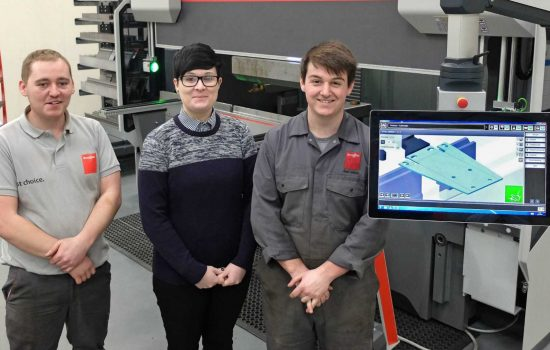L to R: Lewis Wale, engineering apprentice; Liz Hughes, apprentice administrator; and Joshua Smith, engineering apprentice (all Bystronic UK).