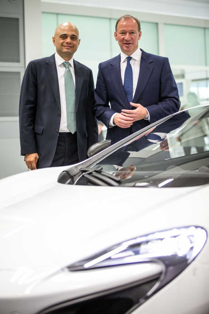Sajid Javid visits McLaren Production Centre with CEO Mike Flewitt.