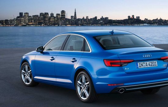 The Audi A4 Sedan which is available through Audi on demand in San Francisco.