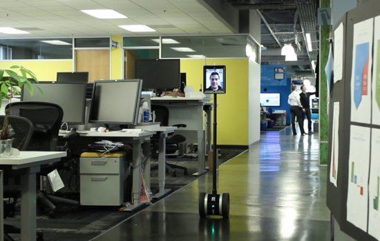 A telepresence robot monitors an office environment. Image courtesy of Double Robotics