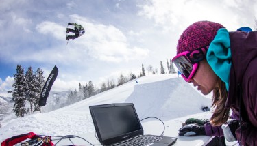 Mark McMorris in flight and Intel engineer Stephanie Moyerman observing realtime data test - image courtesy of Intel