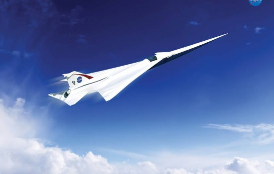 An artist's impression of a Quiet Supersonic Transport (QueSST) X-plane design. Image courtesy of Nasa.