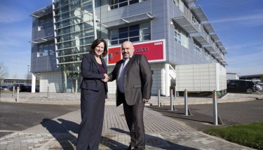 Roz Bird and John Drover at Silverstone Park's Innovation Centre which will house Hexagon metrology facility.