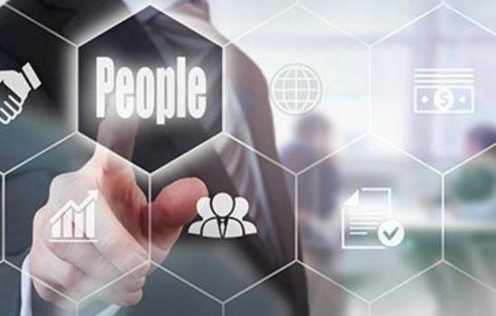 BIG-Businessman pressing an Service concept button